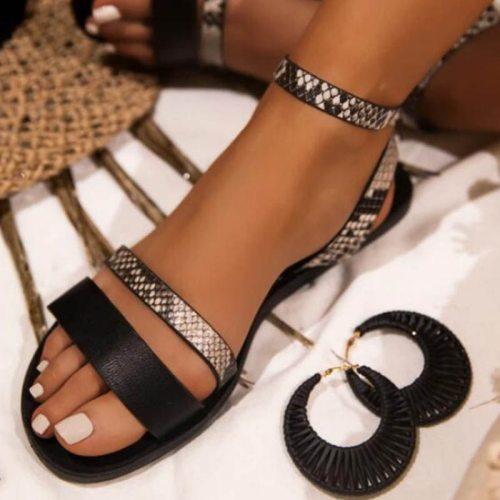 Women Sandals Retro Fashion Summer Women Shoes Snakeskin Print Casual Sandals Buckle Straps Beach Shoes Ladies Summer Sandals