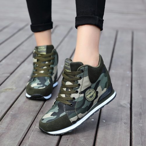 2021 Autumn Winter Women Canvas Camouflage Shoes Thick-Soled Lace-Up Shoes Sneakers Light Weight Running Shoes for Zapatos Mujer