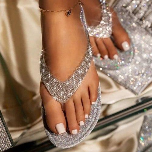 2021 Women Flip Flop Slippers Slides Bling Rhinestone Ladies Shoes Casual Summer Flat Female Crystal Glitter Woman