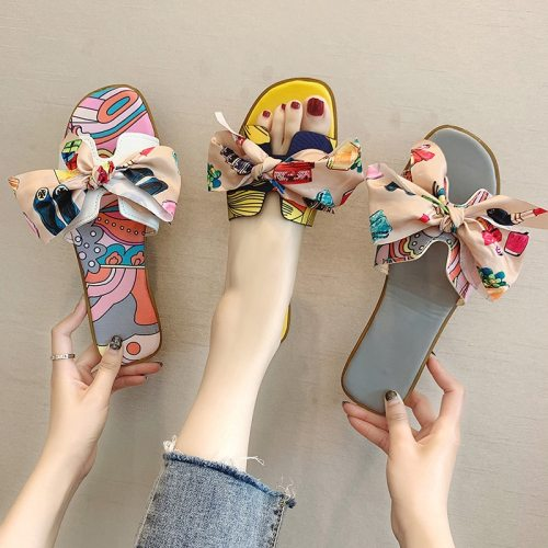 2021 Summer Fashion Sandals Shoes Women Bow Summer Sandals Slipper Indoor Outdoor Flip-flops Beach Shoes Female Slippers