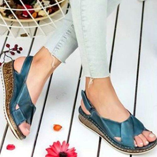 Durable Women Sandals Fashion Summer Peep-toe Wedge Sandal Comfortable Breathable Slip-on Flat Shoes