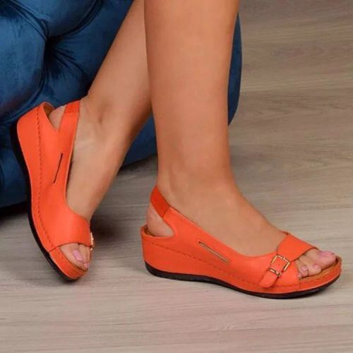 2021 Female Wedge Heels Shoes Women Summer Comfortable Sandals Slip-on Flat Sandals Platform Sandalias fr5