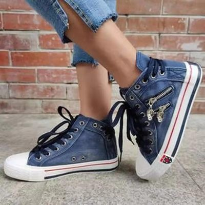 2021 Women Fashion Sneakers Denim Canvas Shoes Spring/Autumn Casual Shoes Trainers Walking Skateboard Lace-up Shoes Femmes