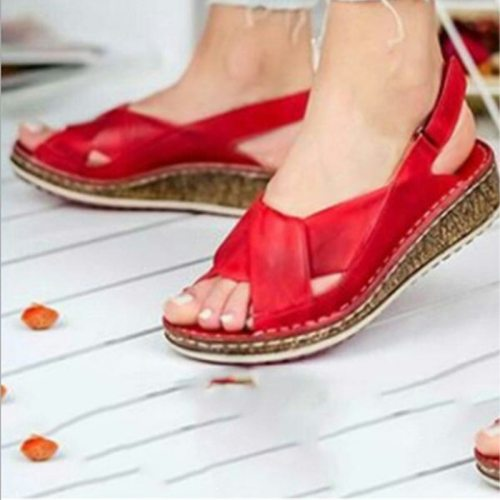 Durable Women Sandals Fashion Summer Peep-toe Wedge Sandal Comfortable Breathable Slip-on Flat Shoes