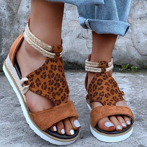 Sandals Ladies Wedge Heel Open Toe Fish Mouth Foreign Trade Roman Style Sandals Shoes Cashmere Zipper Large Size Shoes Women