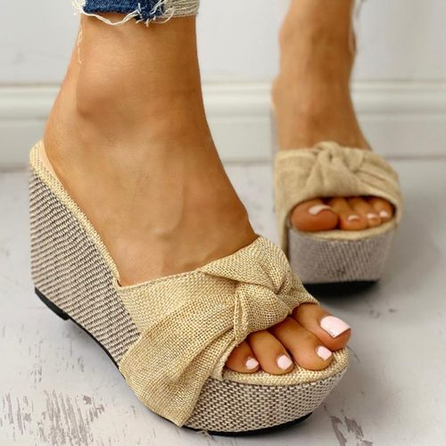 Bow Tied Slip on Leisure Platform Summer Sandals 2020 Wedges High Heels Women Shoes Woman Mules Flip Flops