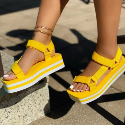 2021 Summer Wedges Shoes for Women Open Toe Beach Female Sandals Multicolor Slingback Sandals Platform Ladies Sandals Plus Size