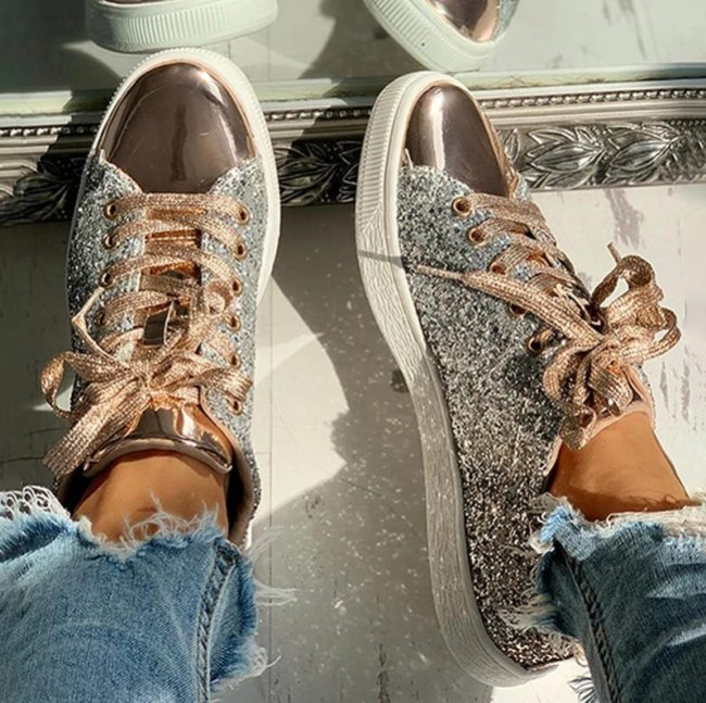 Women Vulcanize Shoes Sneakers Bling Shoes Girl Glitter Casual Female Breathable Lace Up Outdoor Sport Shoes Zapatos De Mujer