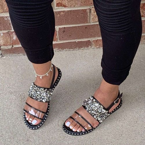 2021 Summer Fashion Nailing Diamond Sequins Women Shoes Outdoor Sand Beach Roman Style Flat Bottom Sandals Plus Size 35-43