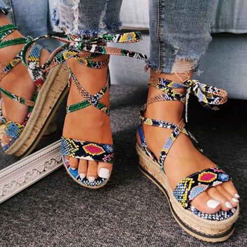 Large Size Strappy Platform Sandals 2021 Summer Fish Mouth PU Strap Flat