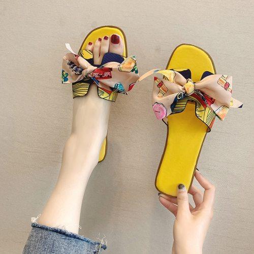 2021 Summer Fashion Sandals Shoes Women Bow Summer Sandals Slipper Indoor Outdoor Flip-flops Beach Shoes Female Slippers