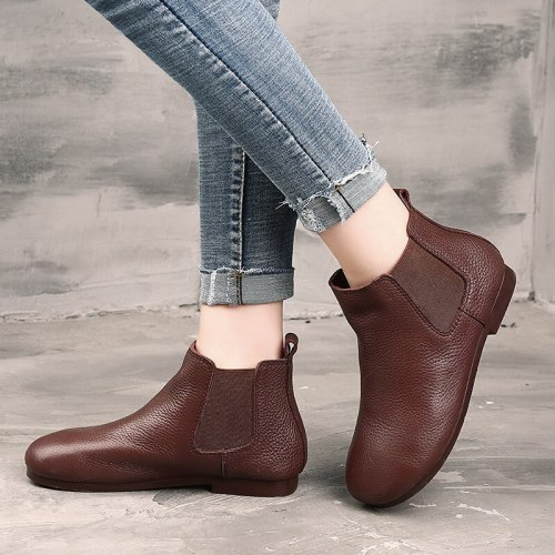 Leather ankle boots, flat shoes, vintage boots, round head, cowhide shoes, single boots