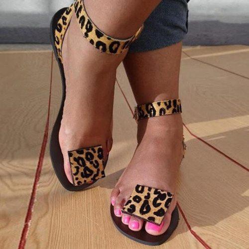 2021 Women Summer Flat Sandals Sexy Leopard Print Handmade Open Toe Sandals Flip-Flops Plus Size 35-43