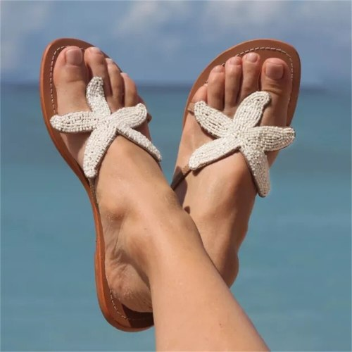 Summer Flip Flops Women 2021 Fashion String Bead Clip Toe Ladies Comfortable Vacation Beach Sandals Large-Sized Flat Slippers