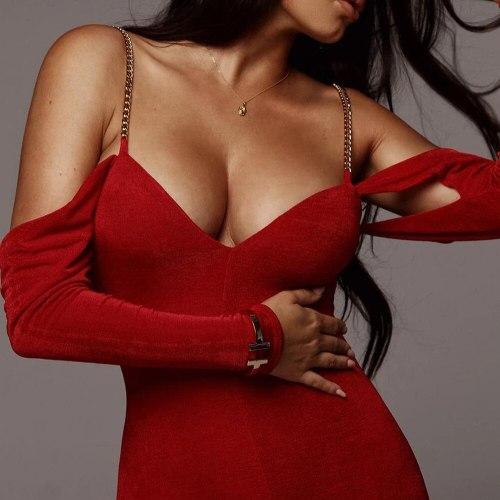 New Metal Chain Spaghetti Strap Dress For Women Fashion Off Shoulder Sexy Backless Bodycon Clubwear Party Long Dress