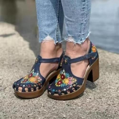 Women Sandals Summer New Square Heel Printed Buckle Strap Ladies Hollow Out Ladies Footwear Casual Outdoor Beach Female Shoes