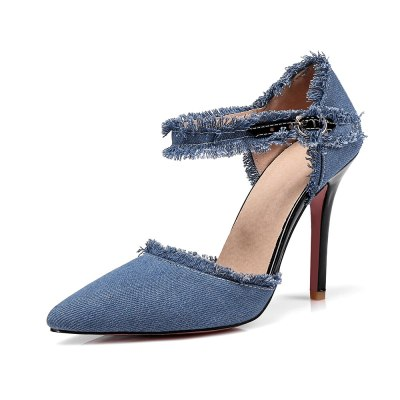 Brand New Denim Fashion Black Blue Women Sandals High Gladiator Heels Ladies Office Shoes EKS3 Plus Big Size 10 12 31 47