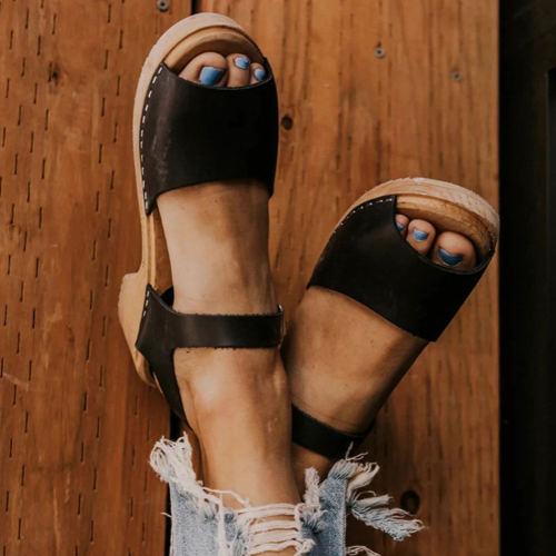 New Office Women Shallow Platform Shoes Summer Heeled Ol Sandals Women Unique Elegant Med Chunky Heels Sandals
