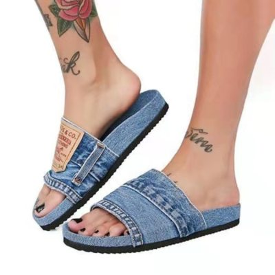 2021 Women's Denim Round Head Flat shoes Comfortable Summer Fashion Trend All-match Outdoor Casual Shoes Beach shoes big size