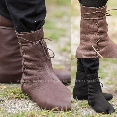 Medieval Carnival Men Knight Prince Lace Up Leather Boots Women Dance Stage Elf Bandage Single Flats Shoes Retro Cosplay Costume