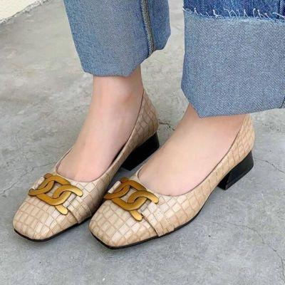 2021 Metal Square Toe Spring Summer Basic Female Pumps PU Leather Fashion Square Heel Slip On Women Shoes Big Size 34-43