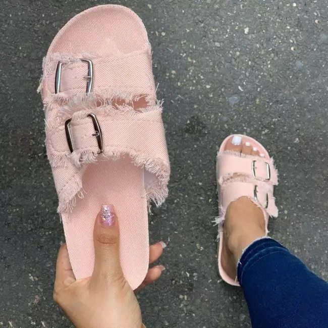 Women's Fashion Casual Solid Color Canvas Soft and Comfortable Double Button Cool Summer Sandals and Slippers 5KE070
