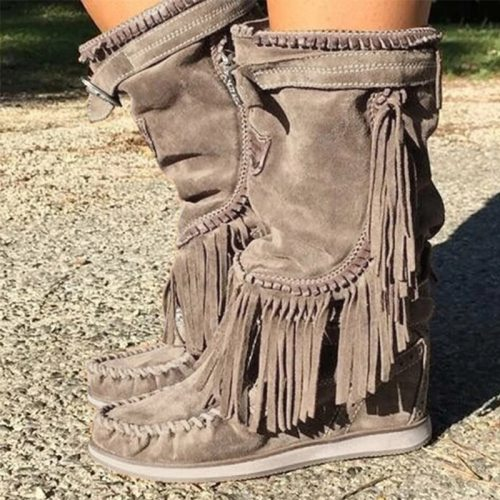 Pirate Boots Woman Pleated Tassel Mid-calf Boots Womens Sewing Footwear Buckle Leather High Heels Shoes Female Plus Size Zip