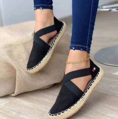 Summer Striped Platform Sandals Wedges Shoes For Women Hemp Rope Bottom Women's Espadrilles High Heels Slip On Canvas Fisherman