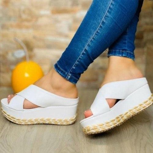 New Women Slippers Summer High Heels Wedges Sandals Open Toe Platform Ladies Shoes Beach Espadrille Slides Outdoor Flip Flops
