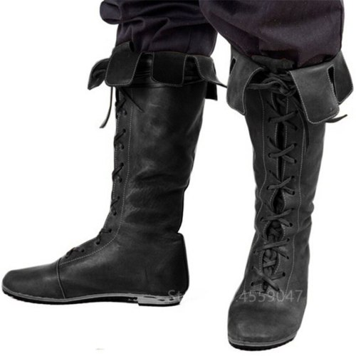 Medieval Men Knight Boots Vintage Lace Up Shoes Middle Ages Viking Pirate Cosplay Women Halloween Archer Costume Fancy American