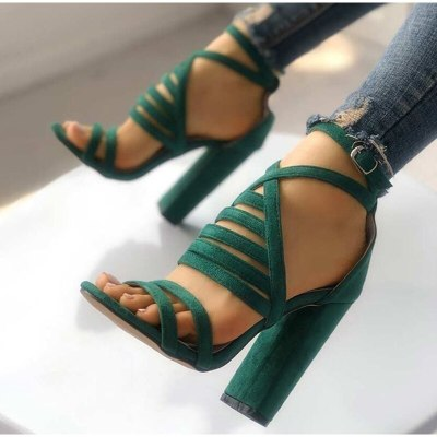 Women Sexy Sandals Lady High Heels Design Women's Cross Strap Bandage Shoes Lady Party Female Ankle Strap Flock 2020 Summer