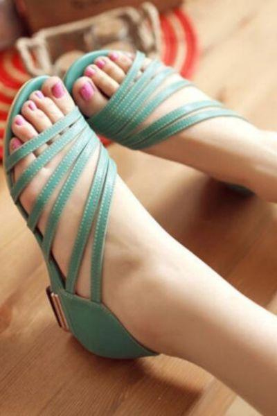 Big Size 34-43 High Quality Summer Women Solid Cover Heel Med Heel Square Heel Sandals 4 Colors