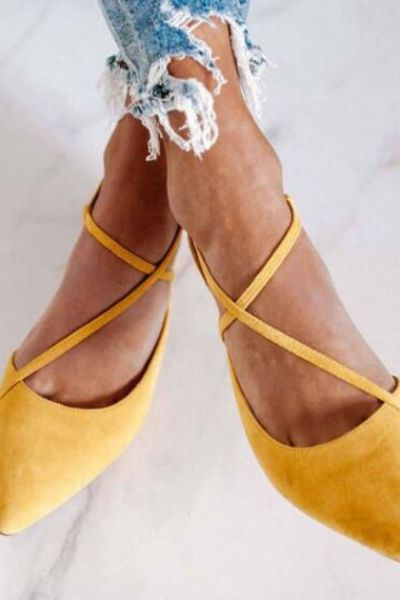 Summer Women Pointed Toe Sandals Low Heels Casual Ladies Pumps Sexy Cross Strappy Gladiator Female Shoes