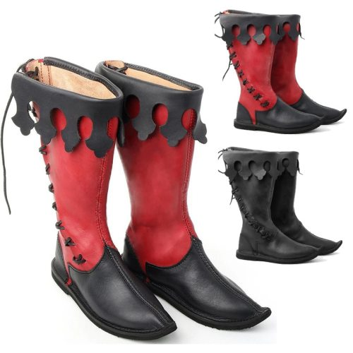 Medieval Men Knight Prince Cosplay Retro Bandage Leather Boots Halloween Carnival Stage Party Flat Shoes Elf Vintage Single Boot