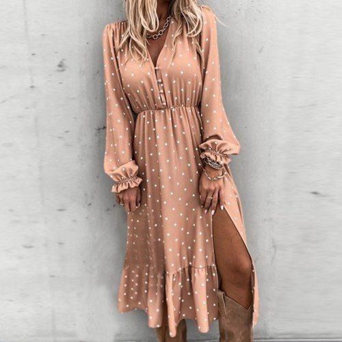 Dot Printed Women Wrap Dress Elegant Lantern Sleeve A Line V Neck Sash Party Dress Wrap Work Wear Streetwear Retro Maxi Dress
