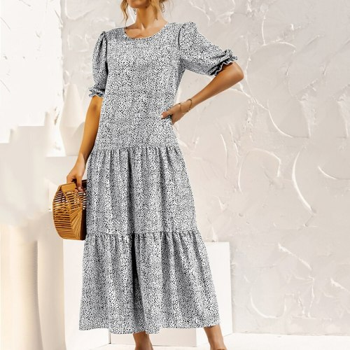 Summer 2021 Puff Sleeve Plaid Polka Dot Stitching Loose Beach Boho Dress for Womens Long Casual Maxi Dress Vintage Dress Vestido