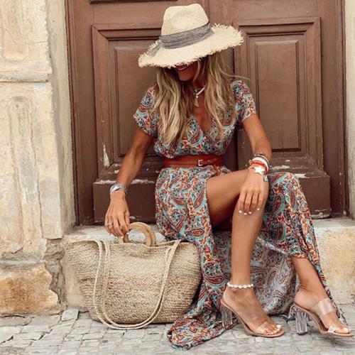 Boho Women Dress Paisley Print Large Hem Short Sleeve Slit Hem Maxi Dress with Belt for Work