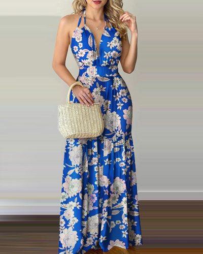 2021 Women Tropical Print Halter Backless Maxi Dress Summer Spring Vacation Sleeveless Sexy Boho Beach Dress Casual Floral