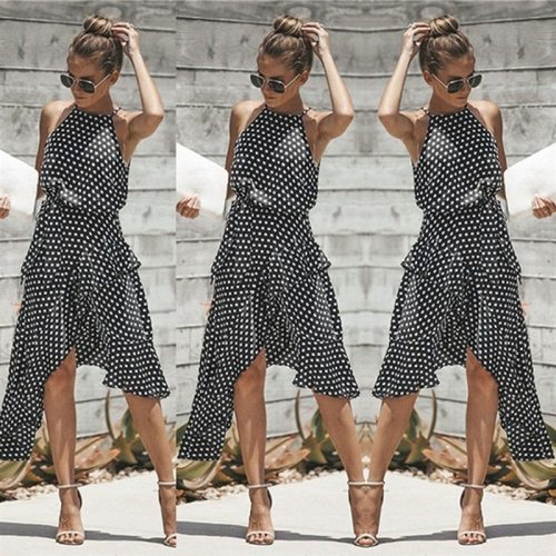 Vintage Women Polka Dot Dresses Summer Ruffles Halter Irregular Lace Up Dress Sleeveless Dresses For Female Vestidos