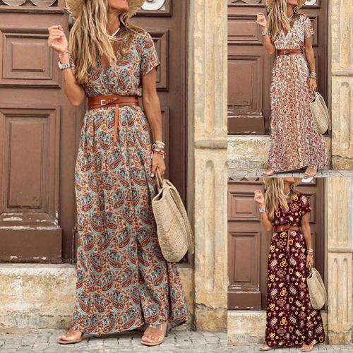 Boho Women Dress Paisley Print Large Hem Short Sleeve Slit Hem Maxi Dress with Belt for Work Women clothing