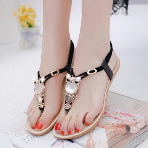 Women shoes 2021 hot fashion women sandals elastic t-strap bohemia beaded owl slipper flat sandals women summer shoes flip flop