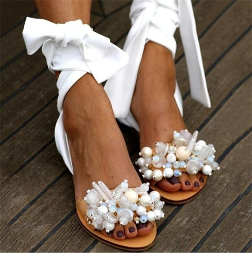 Handmade Sandals Women Flat Sandals Ankle Strap Beaded Special Women's Shoes Beach Sandals Plus Size 35-43
