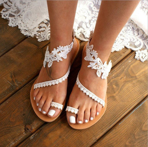 Women Flat Shoes 2021 Summer Bohemian Gladiator Roman Sandal Lace Straps Floral Style Sandalias Mujer White Female Beach Shoes