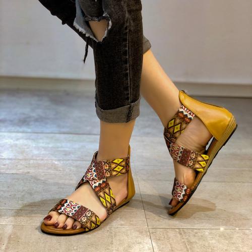2021 Summer Plus Size Bohemian Women Sandals Ladies Beach Shoes Casual Single Rome Oversized Female Sandals