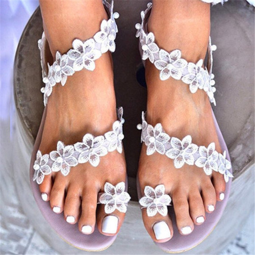Women Flat Shoes 2021 Summer Bohemian Flower Crystal Roman Sandal Lace Straps Floral Style Sandalias Mujer Female Beach Shoes
