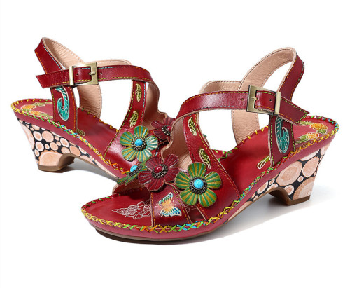 Flower Pattern Ethnic Beach Sandals Bohemian Retro New Rome Style Comfortable Fashion High-heeled Women's Plus Size 35-43