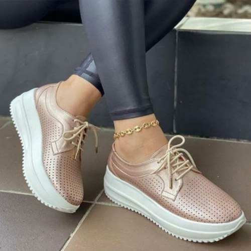 Women's Sneakers Hollow Out Breathable Casual Summer Vulcanized Shoes Platform Ladies Lace up Thick Heels Female Footwear 2021