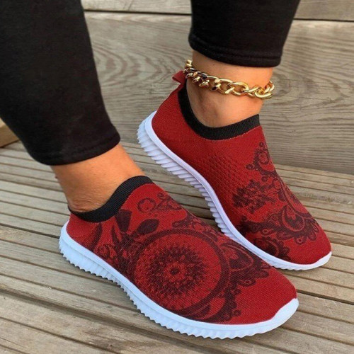 Spring Sneakers For Women 2021 New Stretch Knitted Ladies Vulcanized Shoes Non-slip Casual Printed Running Female Shoes Comfort