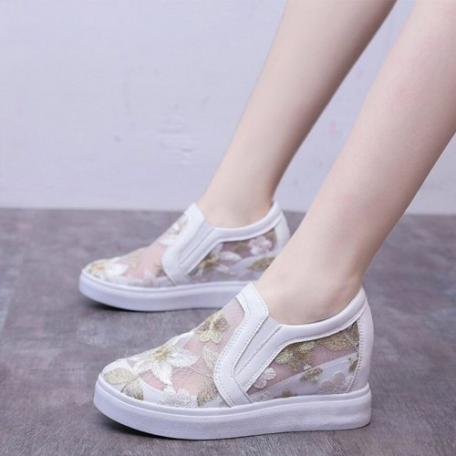 Women Mesh Summer Breathable New Lace Sneakers Ladies Shoes Comfortable Casual Woman Platform Wedge Female Flower Shoes Hot 2020