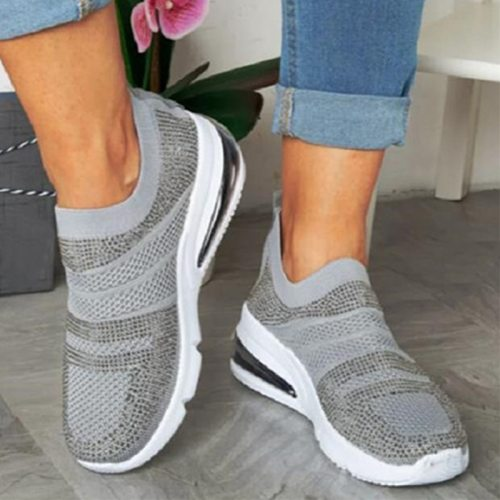 Female Vulcanized Shoes Fashion Comfortable Woman Sneakers Air Mesh Breathable Casual Slip-On Wedges Ladies Footwear Plus Size